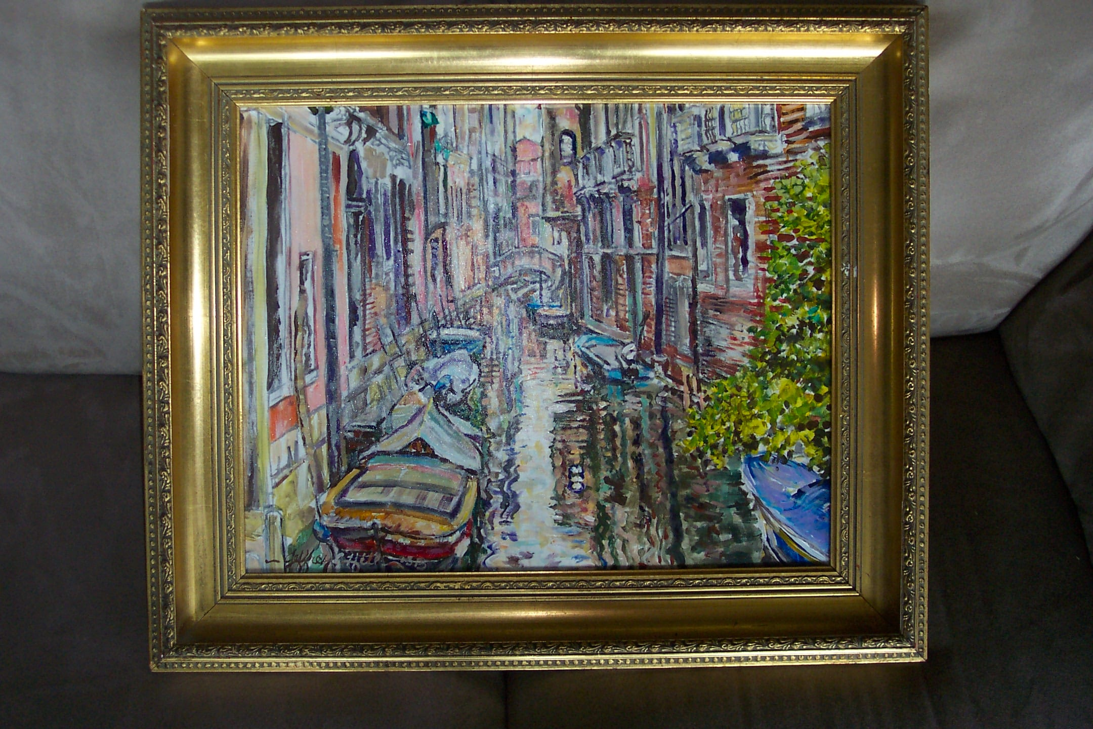 Venice Canal, framed original oil by Jeffrey Hill.