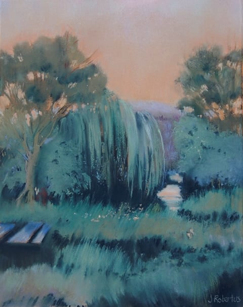 Birchfield Evening original pastel painting by wenaha gallery artist Judy Robertus