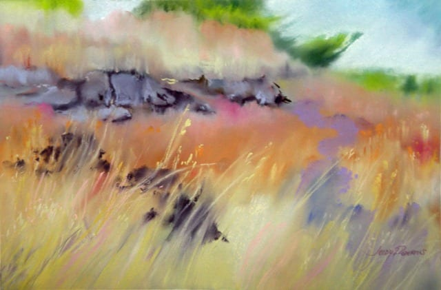 coastal meadow original pastel by wenaha gallery artist Judy Robertus