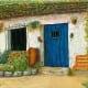 Blue Door Cottage original oil painting by Wenaha Gallery artist Marilu Bryan