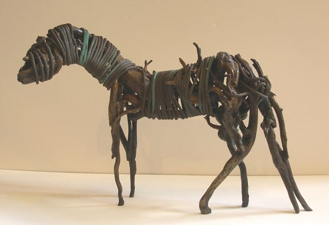 Welded metal horse sculpture by Wenaha Gallery artist Carlos Acevedo