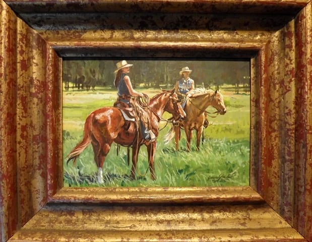 Two Girls on Horseback by Janene Grende, Wenaha Gallery Art Walk featured artist.