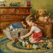 Playtime Noah's Ark oil painting by Michele Davis