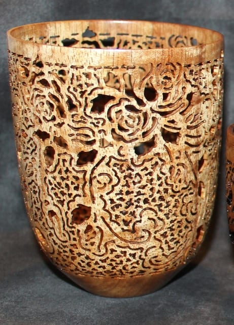 Pierced wood bowl by wenaha gallelry artists pat and peggy bookey