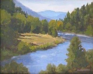 Bend in the River, original oil painting by Wenaha Gallery Artist Jim McNamara.