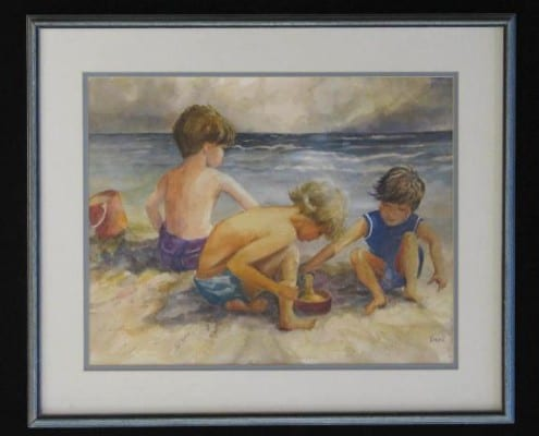 At the Beach original watercolor by Wenaha Gallery guest artist Vivian McCauley