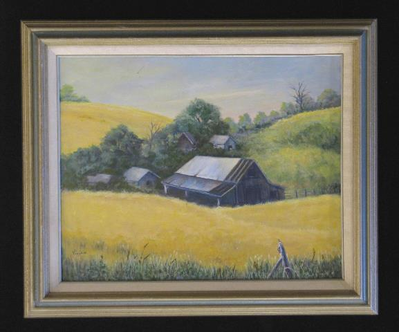 Barn with Wheat original oil painting by Wenaha Gallery guest artist Vivian McCauley