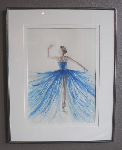 Ballerina, original watercolor by Blue Mountain Artist Guild member Kris Takemura, for the Wenaha Gallery