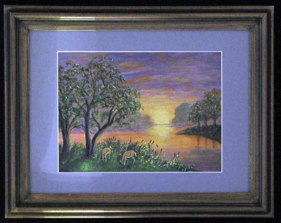 Evening Meal, original acrylic painting by Brenda North of the Blue Mountain Artist Guild, at the Wenaha Gallery.
