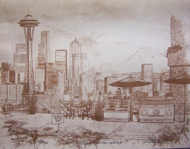 Coffee is the medium of choice in Paul Henderson's Coffee Capital, Seattle painting.