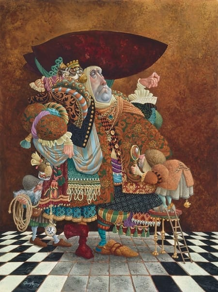 A Lawyer More Than Adequately Attired in Fine Print - James Christensen