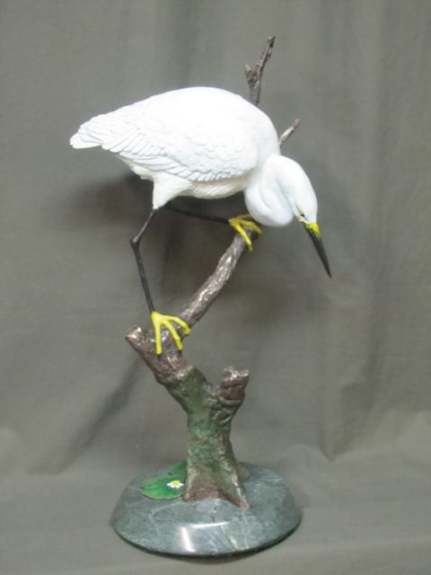 Egret bronze sculpture by Wenaha Gallery guest artist Roger McGee