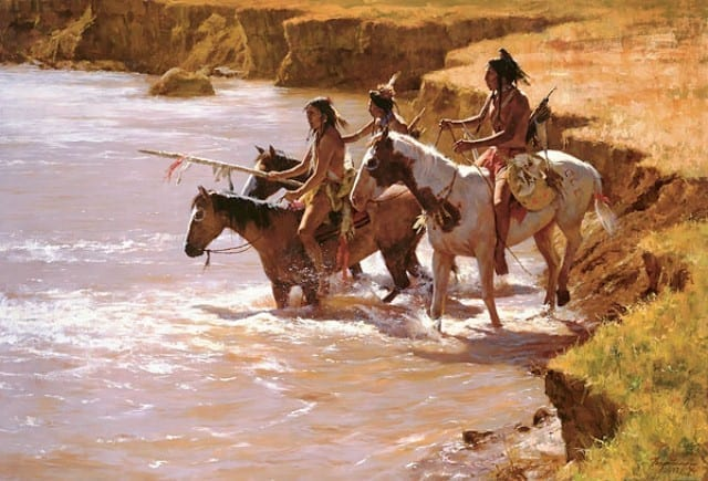 Crossing at the Ford - Howard Terpning