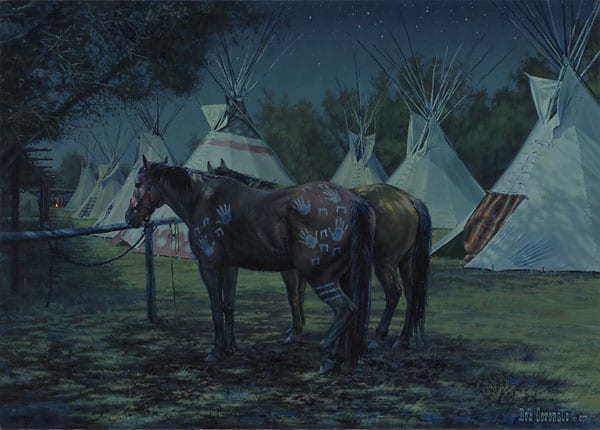 Relay Horses in Camp, Crow Fair 2000