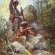 White Man Fire Sticks (canvas) - Howard Terpning