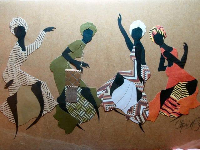 African Dancers, original cut paper art by Wenaha Gallery artist Cheri McGee.