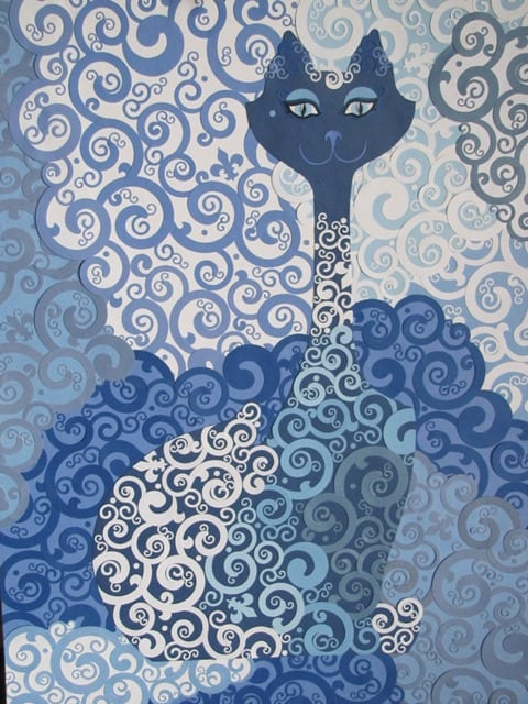 Blue Cat, original cut paper art by Wenaha Gallery artist Cheri McGee