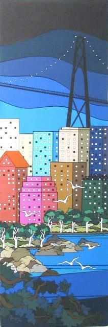 City Scene, original cut paper art by Wenaha Gallery artist Cheri McGee