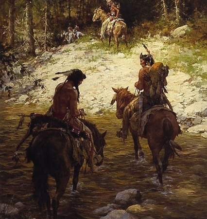 Crossing Medicine Lodge Creek - Howard Terpning