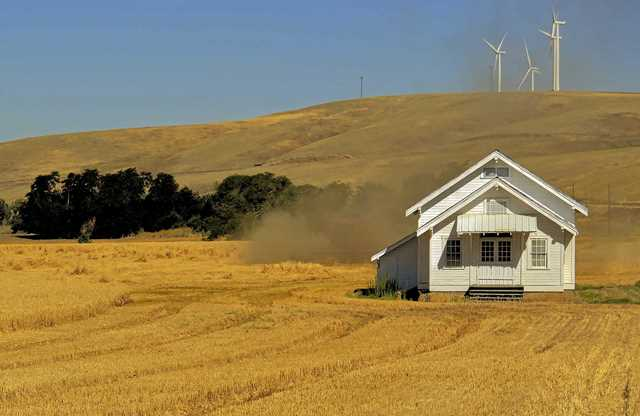 Building in Wheat Field, fine art photograph by Gary Wessels Galbreath