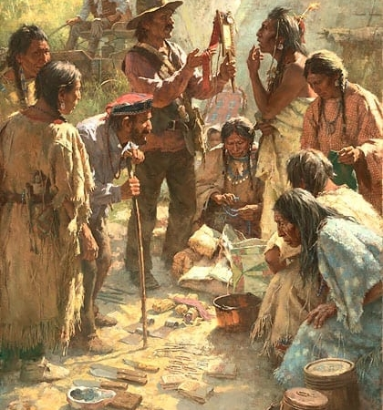 Traders Among the Crow - Howard Terpning