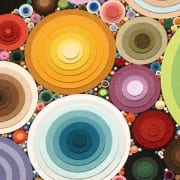 Colorful Spheres original cut paper art by Wenaha Gallery artist Cheri McGee.