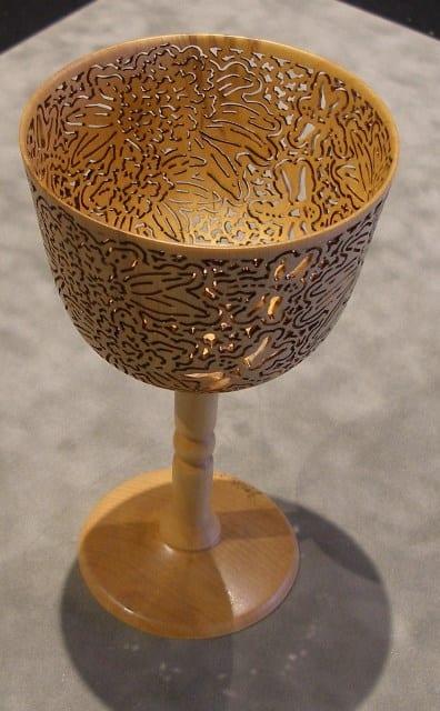 Birch vessel - rhododendrons & dragonflies