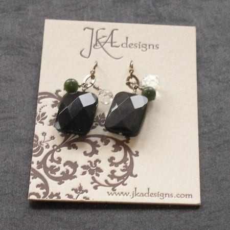 Obsidian, Rock Crystal, & Jade earrings
