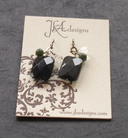 Obsidian, Rock Crystal, & Jade earrings