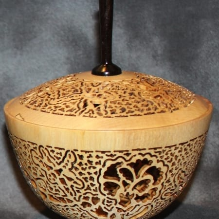 Lidded Floral Birch Vessel