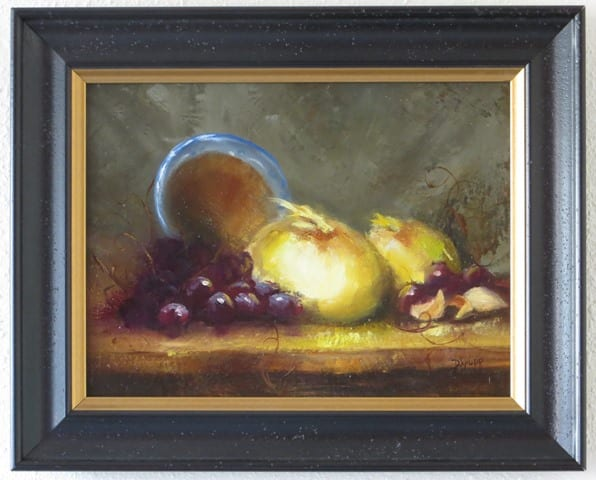 Bowls and Onions, original oil painting by Wenaha Gallery guest artist Deborah Krupp