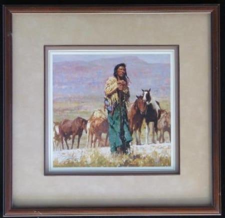 Shepherd of the Plains (framed) - Howard Terpning