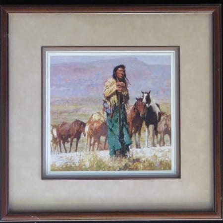 Shepherd of the Plains (framed) - Howard Terpning
