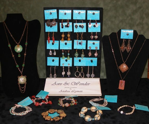Handcrafted necklaces, bracelets, and earrings by Wenaha Gallery artist Andrea Lyman
