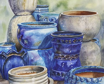 Blue Skies, original watercolor by Wenaha Gallery guest artist, Lisa Hill