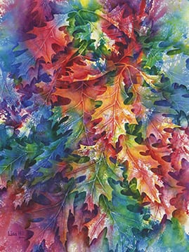 Colors of Autumn, original watercolor by Wenaha Gallery guest artist Lisa Hill.