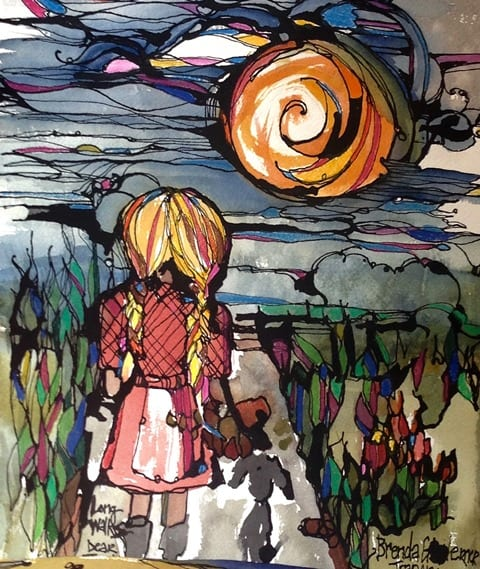 Long Walks, original watercolor, India Ink, and colored pencil painting by Brenda Trapani.