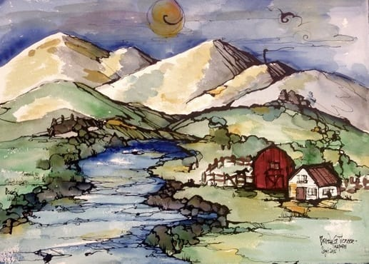 Quiet Dwellings Peaceful Livings, original watercolor, India Ink, and colored pencil painting by Brenda Trapani.