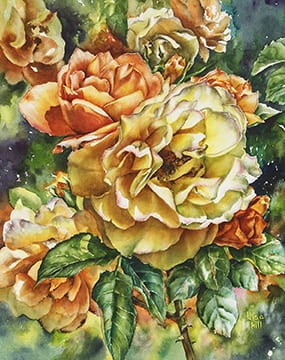 Tangerine and Cream, original watercolor by Wenaha Gallery guest artist Lisa Hill.