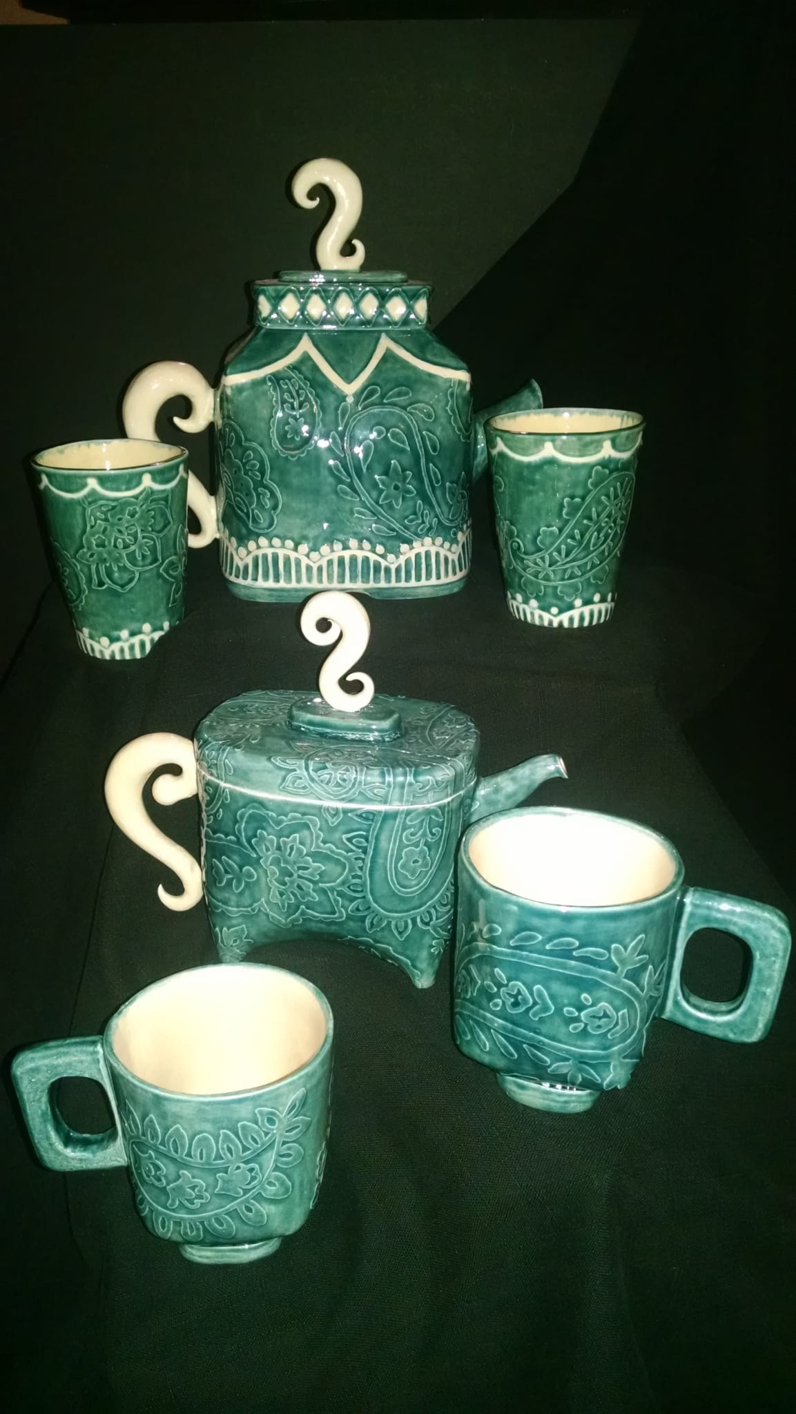 Paisley Pots by Wenaha Gallery pottery artist, Caprice Scott