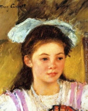Ellen Mary Cassatt with a Large Bow in Her Hair by Mary Cassatt