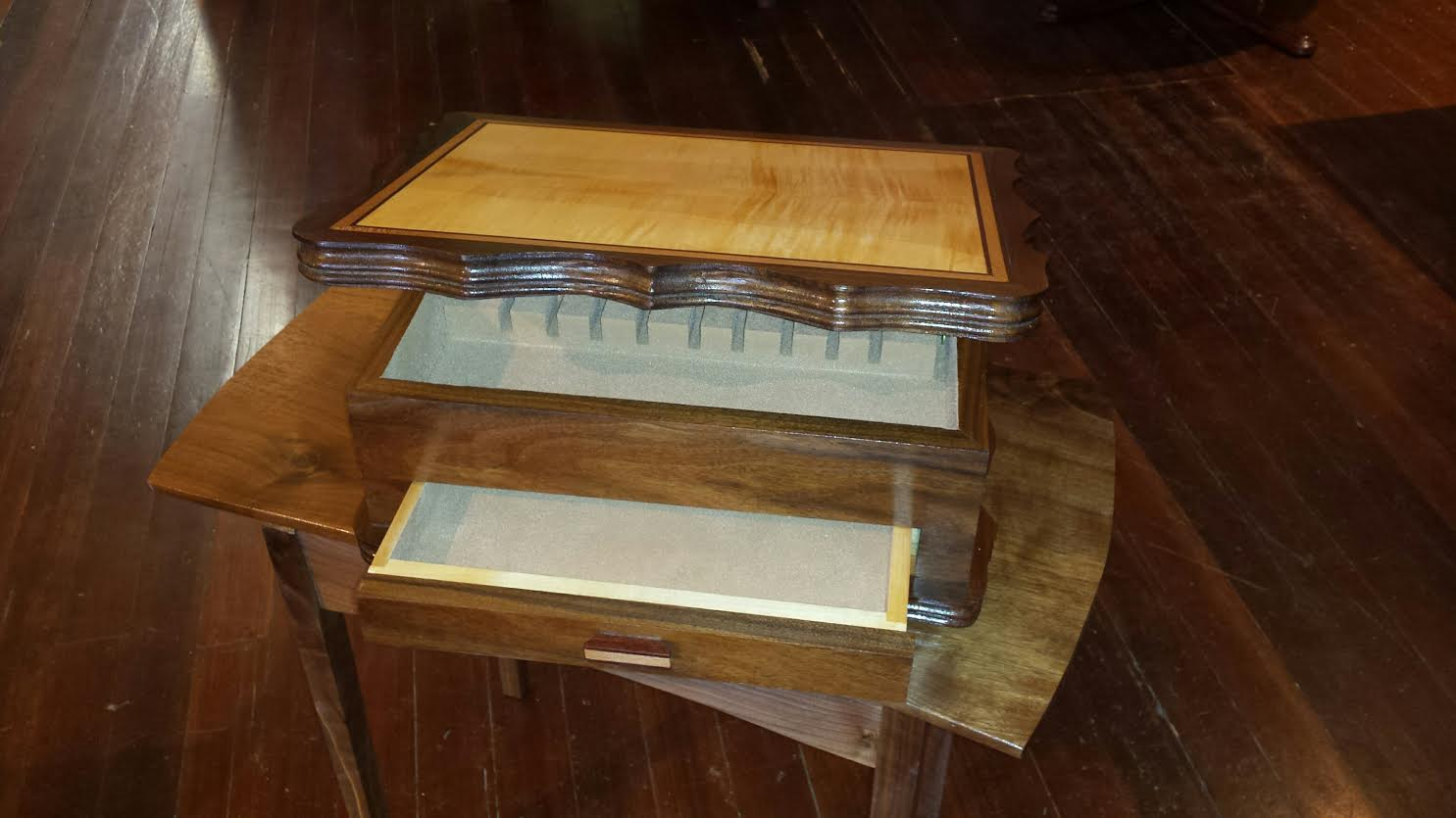 Handcrafted, hardwood silver chest by Ron Jackson