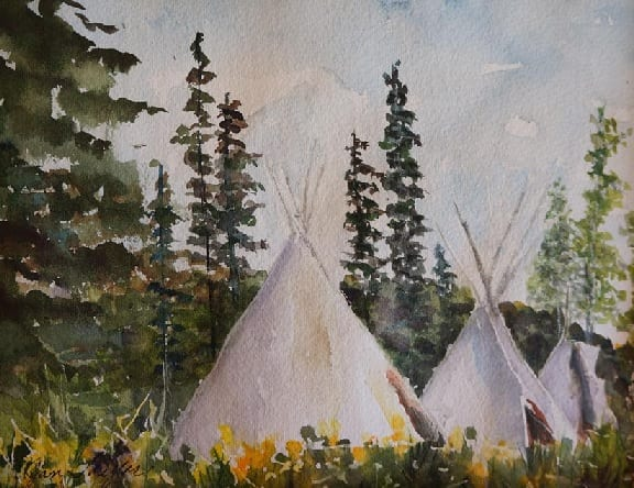 TePees Three by Jan Taylor, guest watercolor artist at Wenaha Gallery