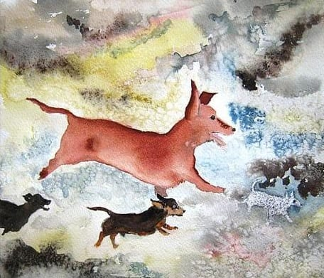 The Wiener Dogs of Lascaux by Jan Taylor, guest watercolor artist at the Wenaha Gallery