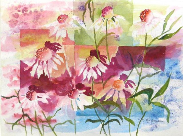 Dancing Coneflowers, original watercolor by Wenaha Gallery guest artist, Meredith Dedman