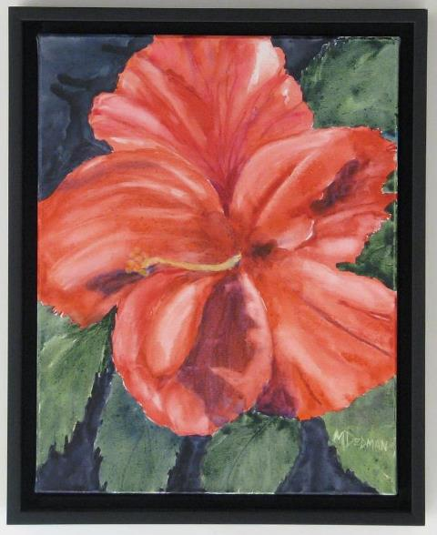 Hibiscus Blossom, original watercolor painting by Wenaha Gallery guest artist, Meredith Dedman