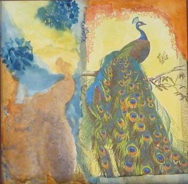Peacock, mixed media original painting by Wenaha Gallery guest artist Meredith Dedman