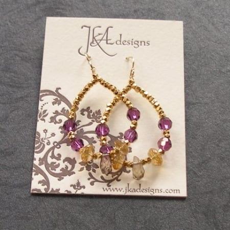Citrine, Swarouski earrings