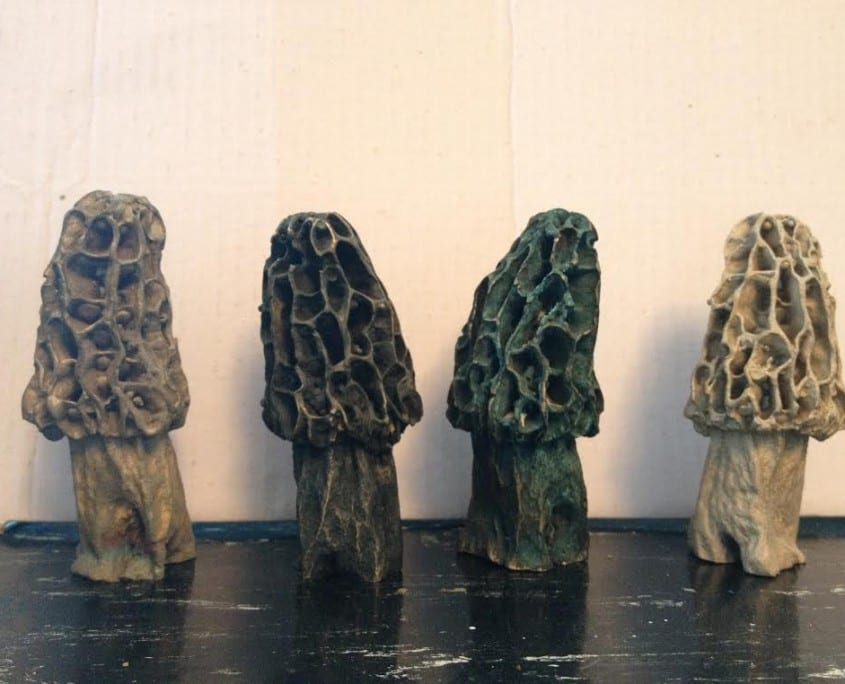 Morel Mushrooms in bronze by Wenaha Gallery artist Andy de la Maza