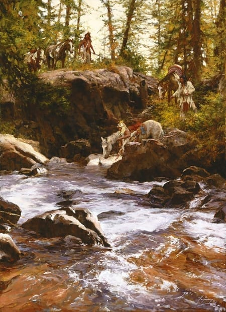 Crows in the Yellowstone - Howard Terpning